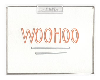 Woohoo letterpress card - set of six