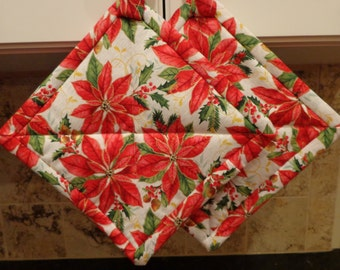 Red Christmas Poinsettas on White Quilted Potholders or Hotpads Set