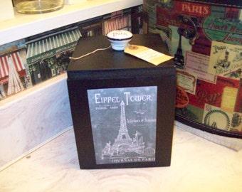 SHABBY Eiffel Tower chalkboard look canister box organizer box ,PARIS decor,FRENCH decor,Paris bedroom decor,Paris bathroom,shabby chic