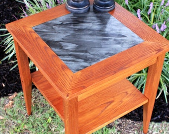 End Table, Side Table, Aluminum Stained Centerpiece, Light Brown Wood Finish - Handmade
