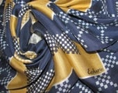 Vintage Echo Silk Square Scarf - Navy, Gold Concentric Square Pattern - Hand Rolled Hems