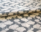 Royal Ginko - linen cotton canvas fabric - slate ground