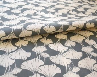 "Royal Ginko - linen cotton canvas fabric - slate ground - haf yard 18"" (45cm) long"
