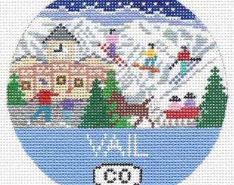 Hand Painted Needlepoint Ornament Vail, Colorado