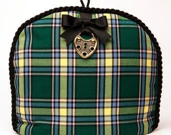 Tea Cozy / Cosy - Tartan - Cape Breton w/ Black Braid , Grosgrain Bow and Metal Heart Lock Embellishment