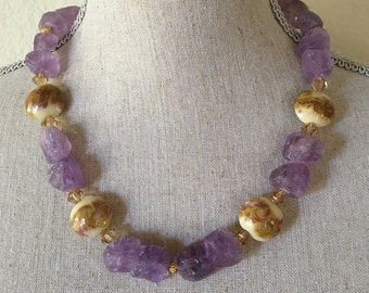 Amethyst Necklace/ Lampwork Glass/ Swarovski Crystals/14k Gold/ Earrings/Bracelet