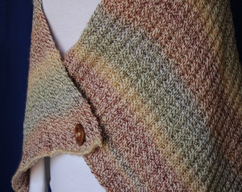 Knit Shawl Pattern, Knitting Pattern for Prayer Shawl, Knit Shawl Design with Button, Easy to Knit Shawl Pattern, Patterns for Knit Shawls