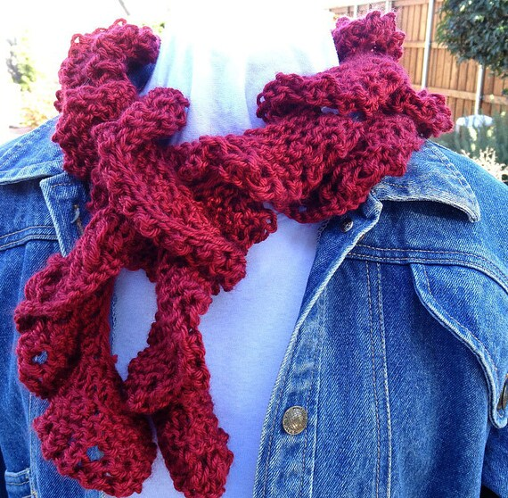Spiral Scarf Knitting Pattern : Red Scarf Sprial Knit Scarf Cranberry Red Spiral Knit Scarf