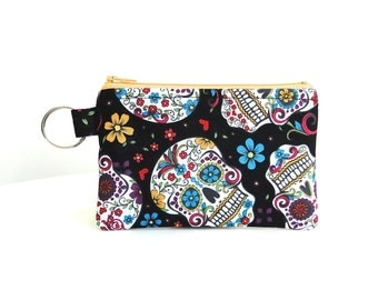 Day of the Dead - Tangerine Zipper Zippered Bag / ID Case / Coin Purse / Gadget Pouch with Split Ring - Ready to Ship