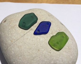 3  Double Drilled Sea Glass  From Puerto Rico  (224)
