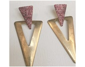 VINTAGE DISCO pink Glitter 70s 80s earrings