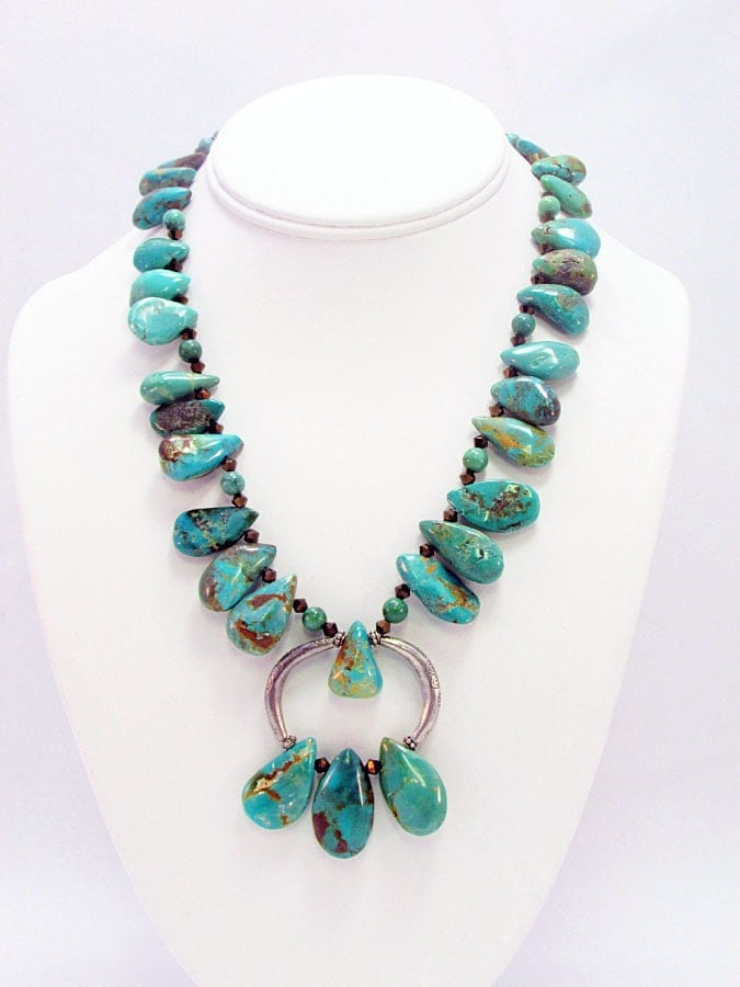 turquoise teardrop and silver necklace t14 by daksdesigns