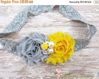 Yellow and Gray Flower Headband, Chiffon Flowers w/ Pearl & Rhinestone Center Lace Headband or Clip, Newborn Baby Child Girls Headband