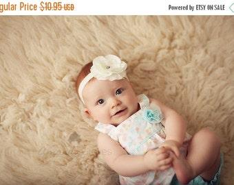 White Flower Headband, White Layered Flower w/ Rhinestones Headband or Hair Clip - The Mia - Baptism, Christening, Baby Child Girls Headban