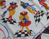 Vintage Harlequin Clown Neck Scarf Novelty Fabric Remnant