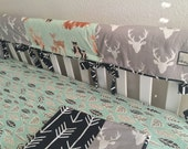 Oh Hello Meadows and Buck Head Forest Crib Rail Cover, Rail Covers, Forest Animal Baby Bedding, Deer Head Rail Cover, Ritzy Baby