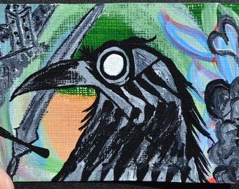 Crow Black Bird Aceo, Atc, Painting, Original Acrylic, Dagger