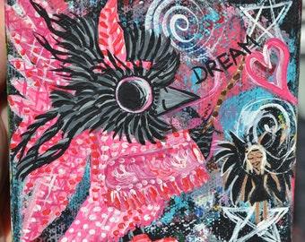 Native Fairy Bird Art, Baby Crow Painting Original Acrylic Canvas, Pinky, Dream
