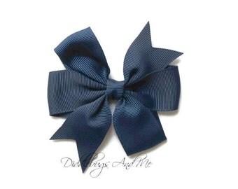 Navy Hair Bow, Blue Pinwheel Hair Bow, Girls Hair Bow,  Pinwheel Hair Bow, Girls Hair Accessories, Fall Hair Bows, Piggy Tail Bows