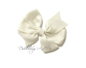 Ivory Hair Bow, Pinwheel Hair Bow In Ivory, Girls Hair Bow,  Pinwheel Hair Bow, Girls Hair Bow Accessories, Hair Bow For Fall, Fall Bow