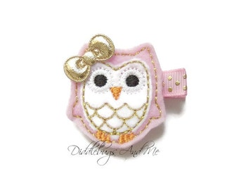 Pink and Gold Owl Hair Clip, Baby Hair Clips,  Owl Hair Clip, Gold and Pink Owl Hair Clip, Owl Hair Clip, Hair Clips For Girls,Pink Owl Clip