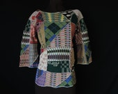 1970's crazy quilt boho sweater. vintage patchwork wide sleeve pullover. medium / large.