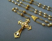 Antique Rosary Design Reg d Crucifix Simili Pearls Filigree Free Shipping To The Usa And CanadaTambourine Beads