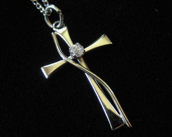 Sterling Silver Cross on Sterling Chain, Dainty Cross with CZ