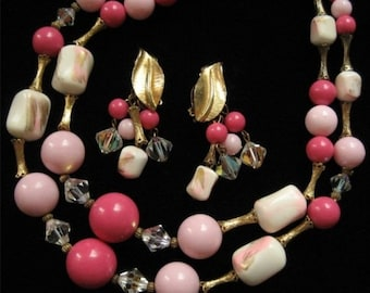Vintage Pink, Gold, and White Beaded Demi Parure