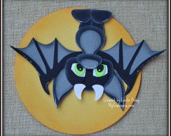 Hanging bat Halloween premade scrapbooking embellishment Paper Piecing set