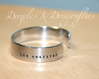 She Believed | Courage Gift | Daughter Gift | Hand Stamped | Secret Message Bracelet | Inspirational | Friend Gift | Niece Gift