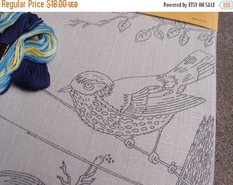 SALE SALE SALE Vintage Embroidery Needlecraft Stitchery Kit Spring Serenity Bird On Wire Blue Do It Yourself Crafting Supplies Linen Wall Ha
