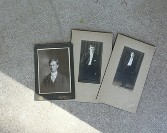Antique Photographs Portraits Man Teen Boys Set Three Matted Wisconsin Repurposing Mixed Media Altered Art Supplies Sepia Photography