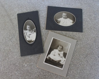Antique Photographs Portraits Baby Babies Sepia Baptism Christening Mixed Media Altered Art Supplies Set Three Photography Matted