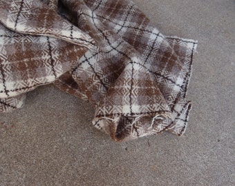 Vintage Fabric Wool Plaid Tartan Taupe Brown Cream Amazing Quality Sewing Supplies Yardage