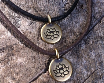 Brass Lotus Flower Charm Choker Adjustable Cotton Cord Necklace spiritual jewelry buddha yoga copper silver bronze