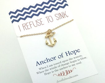 Gold Anchor Necklace  with dainty pearl accent - choose carded with  I Refuse to Sink Anchor of hope message or in a silver gift box