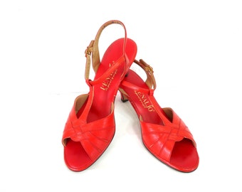 Vintage Shoes Red Leather Pump Heels Sandals  Penaljo Women Size 9