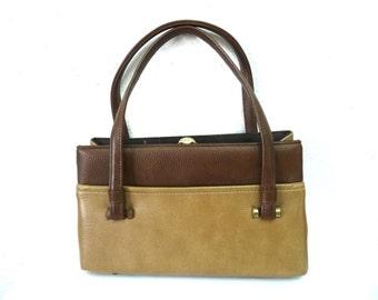 Vintage 1950s Beige Brown Bag retro handbag by Kadin U.S.A.