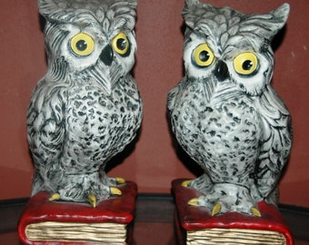 Vintage Owl Bookends Pair Ceramic Owls Hand-Painted