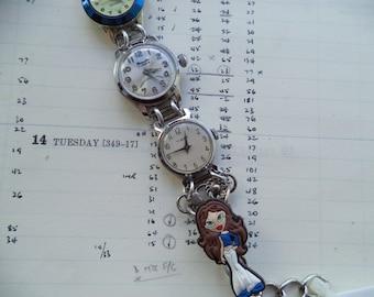 Recycled Vintage Watches Bracelet,Repurposed Vintage Watches Bracelet,Recycled Vintage Watch Faces,Blue Bratz Doll Charm Bracelet
