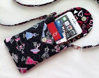 Iphone 6 Plus Smart Phone Gadget Case Detachable Neck Strap Quilted Paris Theme Pink Blue Black