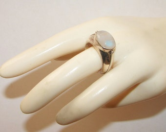 Free Shipping Heavy Duty Genuine Moonstone Sterling Silver Vintage Ring