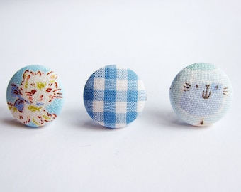 Button Earrings / Clip On Earrings / Stud Earrings - Mix and Match Earrings in Cats - Set of 3