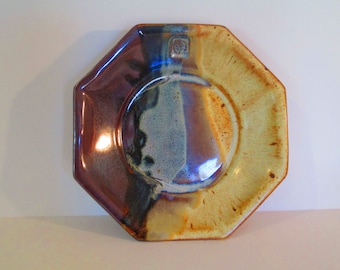 Tri-colored, stoneware octagonal Pasta or Big Salad Bowl