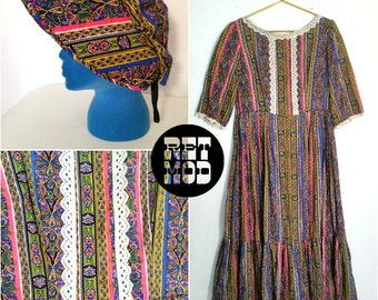 Vintage 60s Quirky Psychedelic Peasant Midi Dress with Matching Bonnet!