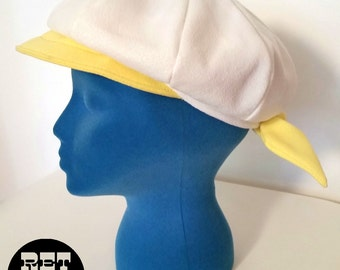 Cute Vintage 60s White and Yellow Tie Go-Go Newsboy Style Cap Hat!