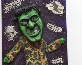 Frankenstein Art Sculpture Frankie B Styling Halloween Decor OOAK Mixed Media Folk Art