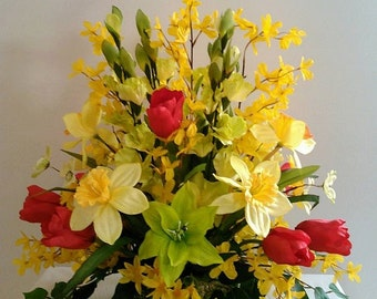 Spring Daffodil Tulips Cosmos  Forysthias  Daisies  Silk Flower Floral Arrangement Centerpiece