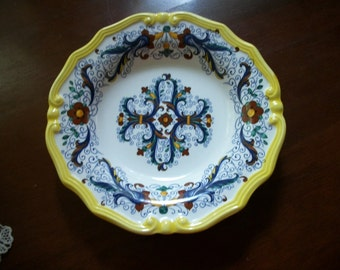 "Italian 9"" bowl French Provincial style Blue Yellow   Cottage Farmhouse decor"